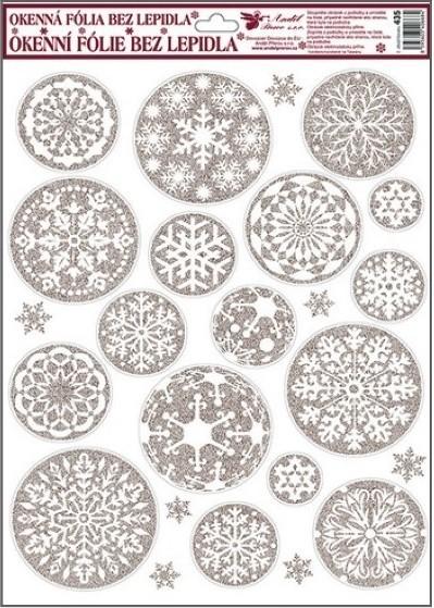 Room Decor Okenní fólie bez lepidla bílo stříbrné kruhové vločky 42 x 30 cm