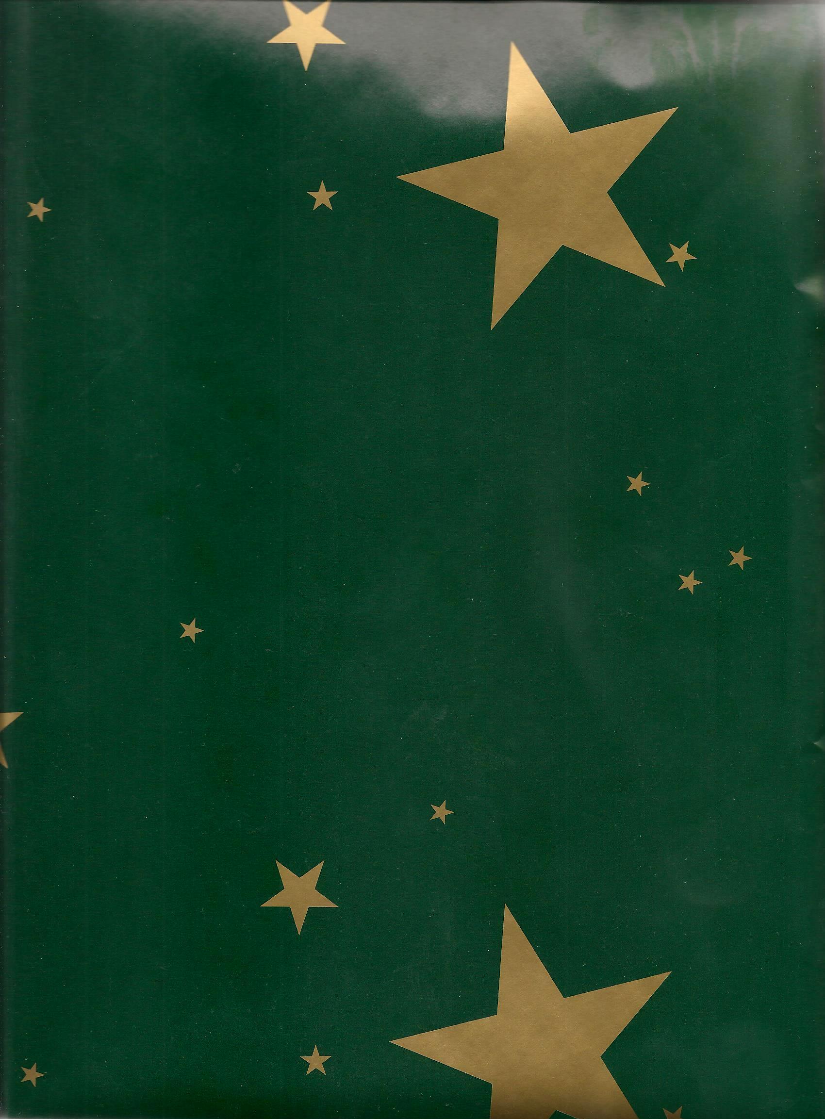 Vánoční balící papír Zlaté hvězdičky zelený 0,7 x 1 m 1 role