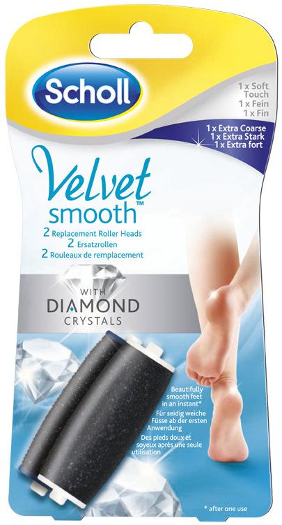 Scholl Velvet Smooth Express Pedi with Diamond Crystals elektrický pilník náhradní hlavice jemná 1 kus + extra hrubá 1 kus