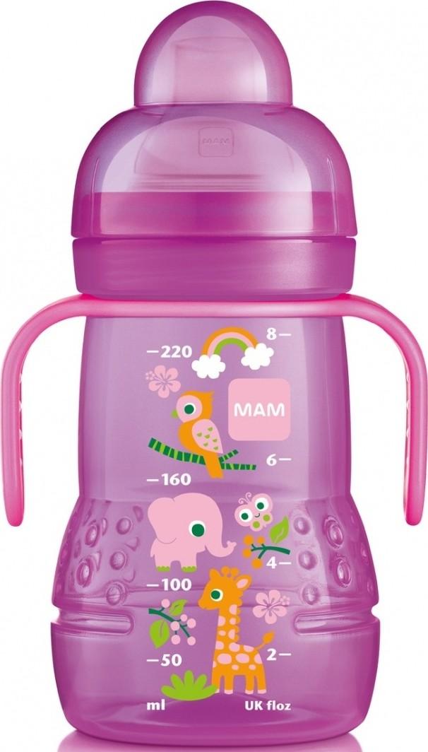 Mam Trainer láhev na nácvik pití s měkkým pítkem a oušky různé motivy a barvy 4 + měsíce 220 ml