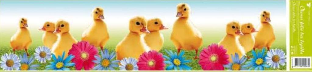 Room Decor Okenní fólie bez lepidla pruh velikonoční zvířátka kačenky barevné květy 1 kus