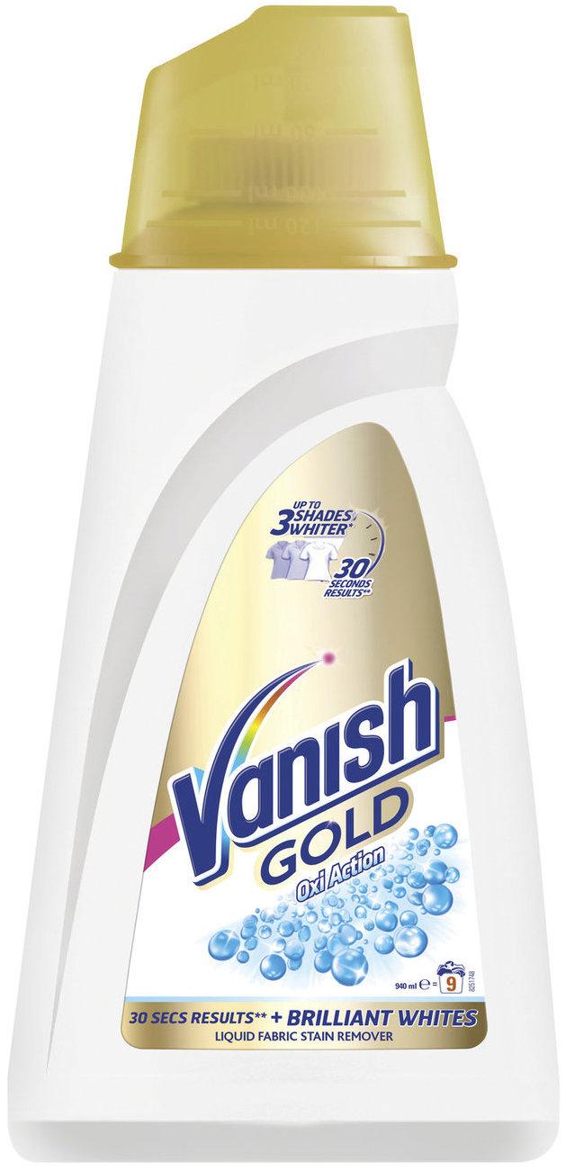 Fotografie Vanish Oxi Action Gold tekutý odstraňovač skvrn na bílé prádlo 9 praní 940 ml