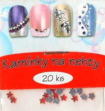 Fotografie Professional Ozdoby na nehty kamínky hvězdičky červené 20 kusů