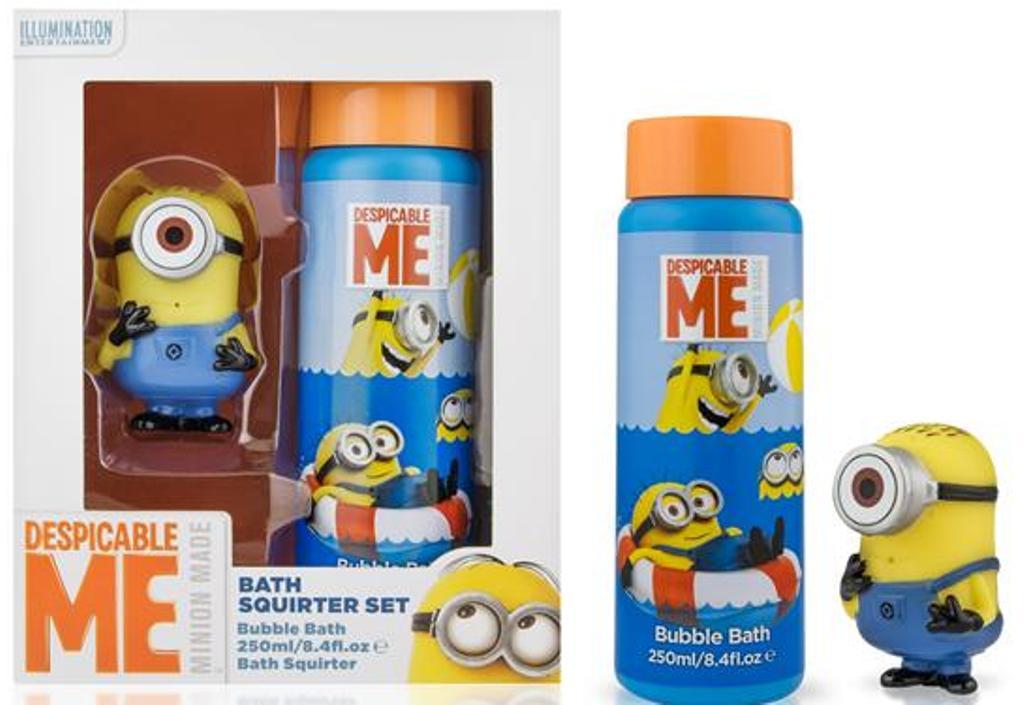 Fotografie Mimoni Bath Squirter Set pěna do koupele 250 ml + gumová stříkající hračka Mimoň, kosmetická sada