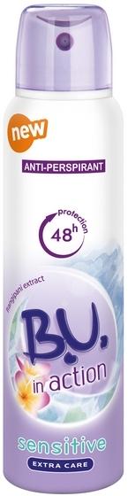 Fotografie B.U. In Action Sensitive antiperspirant deodorant sprej pro ženy 150 ml