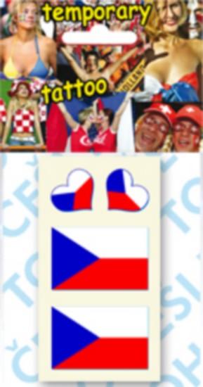 Arch Tetovací obtisky na obličej i tělo 2 x Česká vlajka a 2 x srdce 1 kus