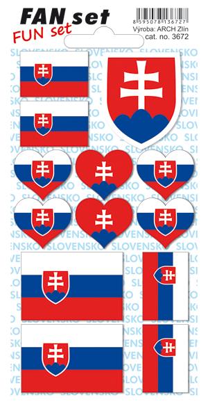 Arch Tetovací obtisky na obličej i tělo Slovensko republika vlajka 8 x 15 cm 1 kus