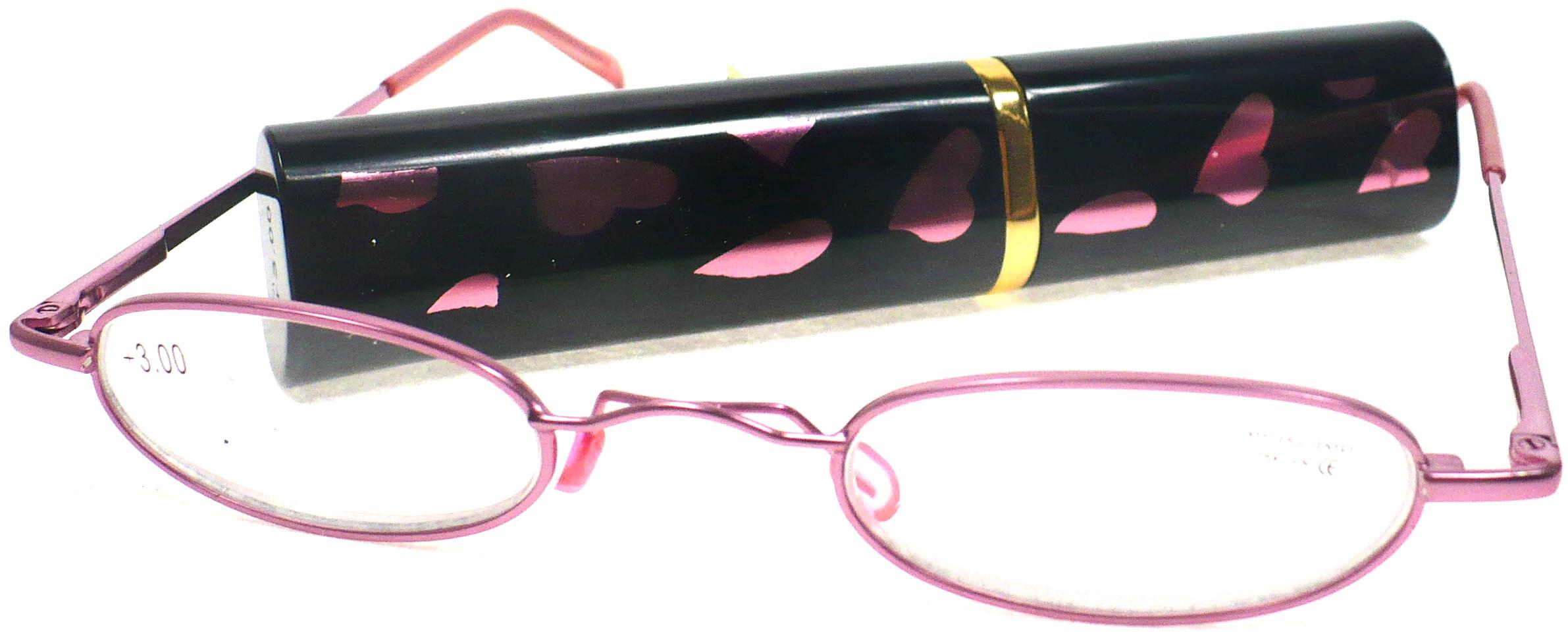 Berkeley Cleopatra čtecí dioptrické brýle +3,0 růžové v pouzdru srdíčka 1 kus M160