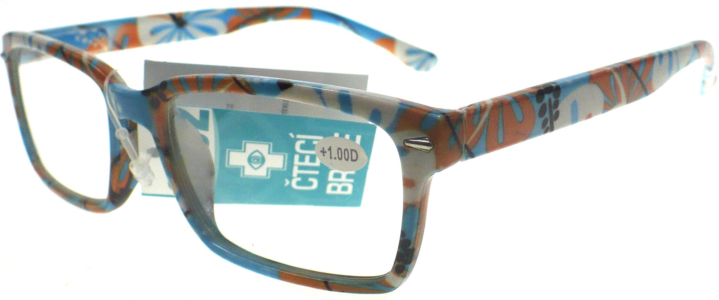 Berkeley Čtecí dioptrické brýle +1,0 světle modré květované 1 kus MC2096