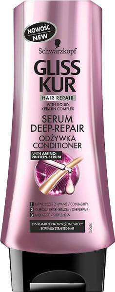 Fotografie Gliss Kur Serum Deep Repair balzám pro extrémně namáhané vlasy 200 ml