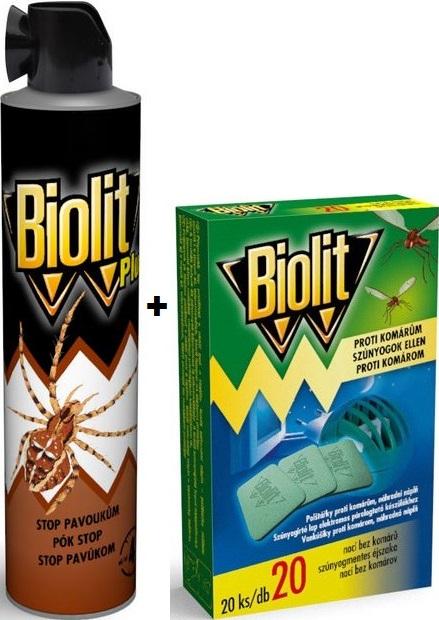 Biolit Plus Stop pavoukům 400 ml + Biolit polštářky do elektrického odpuzovače komárů náplň 20 kusů