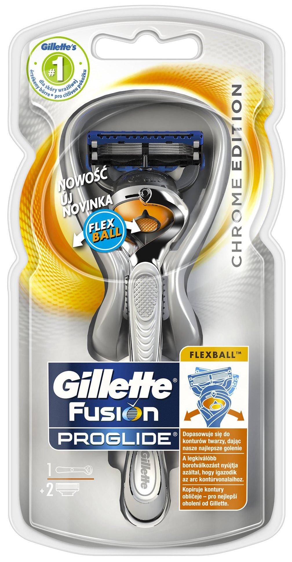 Gillette Fusion Proglide Flexball Silver holící strojek pro muže 1 kus + náhradní hlavice 2 kusy