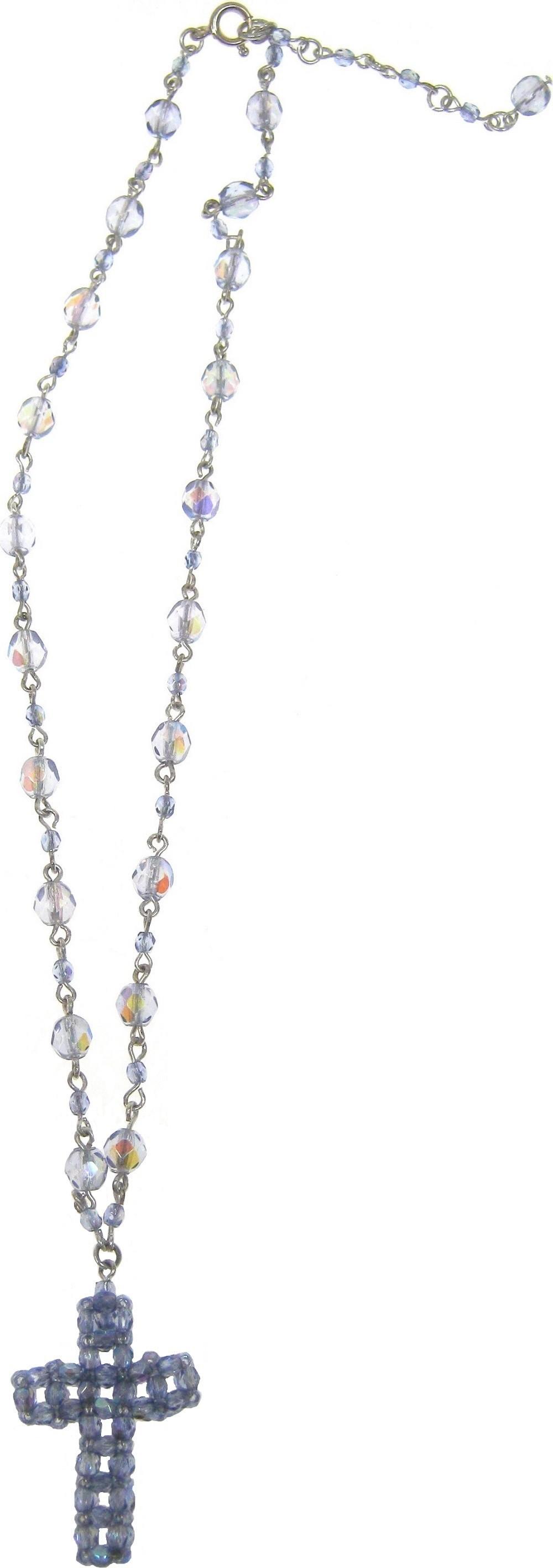 Bižuterie Náhrdelník stříbrný s modrými krystaly s přívěškem kříž 40 cm