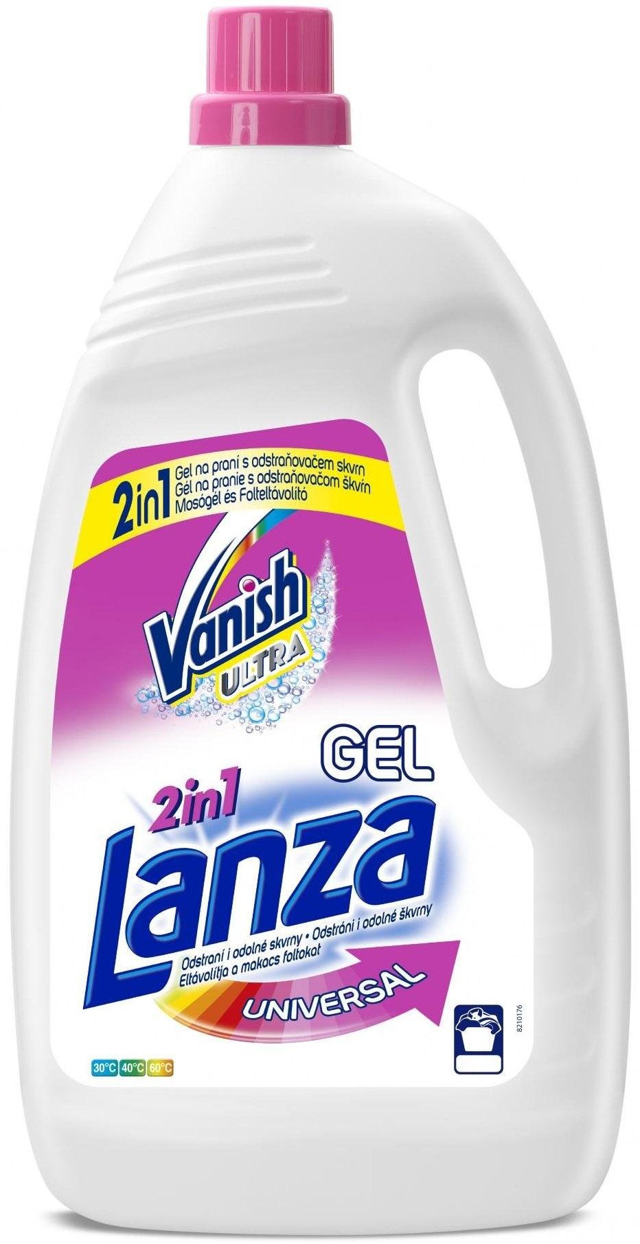 Fotografie Lanza Vanish Ultra 2v1 Universal prací gel s odstraňovačem skvrn na všechny druhy prádla 15 dávek 0,99 g