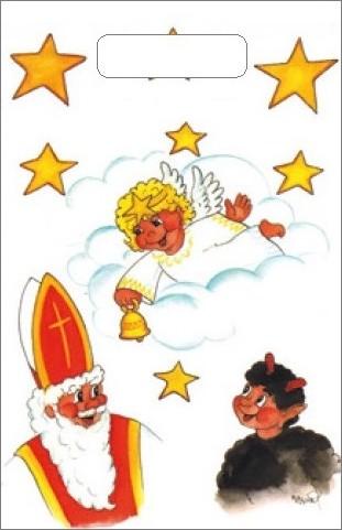 Fotografie Taška igelitová malá Mikuláš, čert, anděl, mrak 32 x 20 x 8 cm