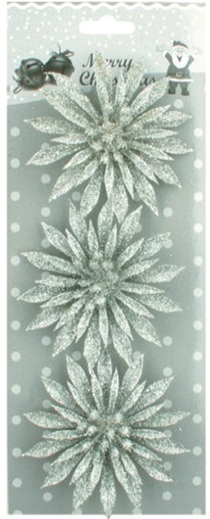 Květ vánoční stříbrný 8 cm 3 kusy