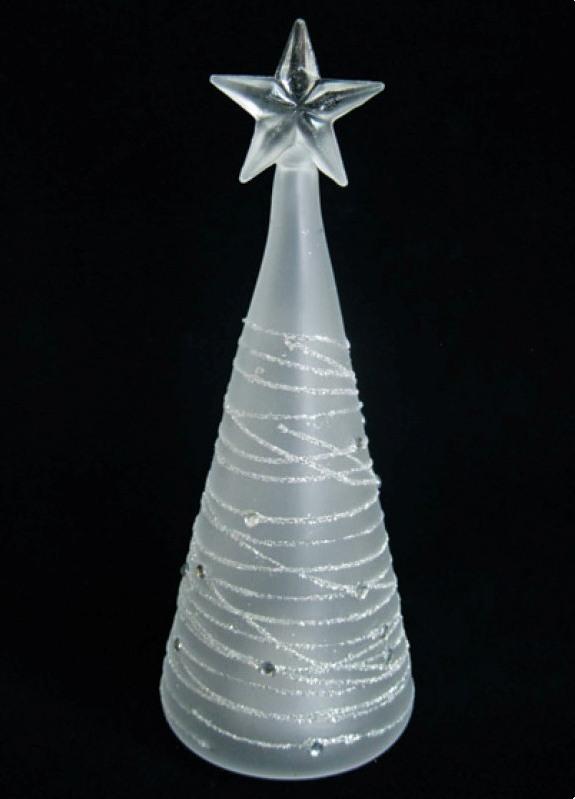 Stromek ze skla svítící Led 20 cm