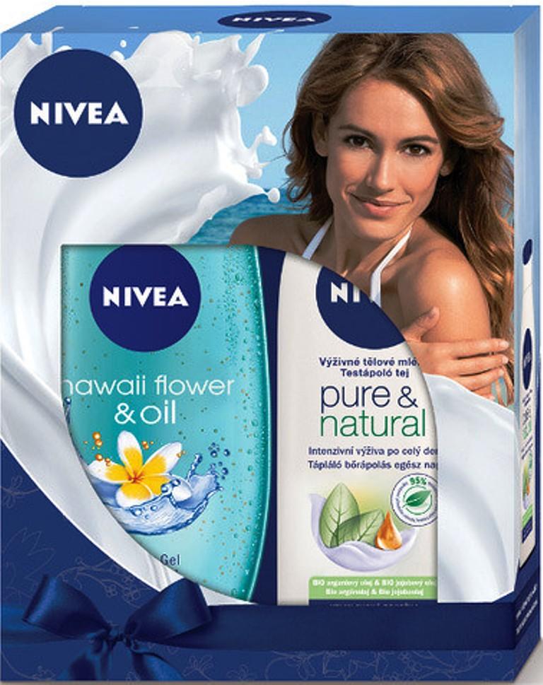 Nivea Hawaiian Flower & Oil sprchový gel 250 ml + Pure & Natural výživné tělové mléko pro velmi suchou pokožku 250 ml, kosmetická sada
