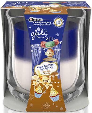 Fotografie Glade by Brise 2v1 Velvet Tea Party & Vanilla vonná svíčka ve skle 135 g