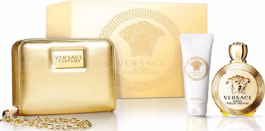Fotografie Versace Eros pour Femme parfémovaná voda pro ženy 100 ml + tělové mléko 100 ml + zlatá kabelka 1 kus, dárková sada