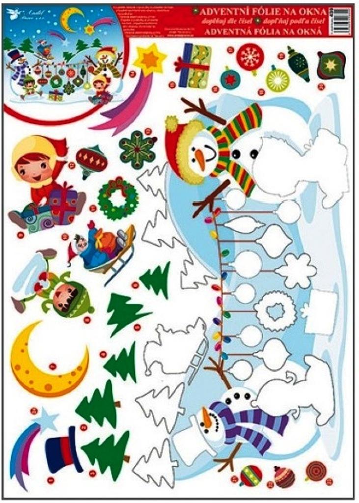 Room Decor Okenní fólie bez lepidla adventní kalendář dva sněhuláci 42 x 30 cm