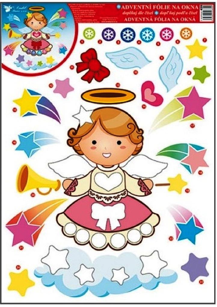 Fotografie Room Decor Okenní fólie bez lepidla adventní kalendář anděl 42 x 30 cm