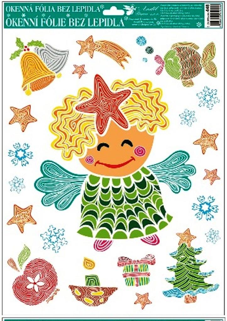 Room Decor Okenní fólie bez lepidla veselé obrázky z linek anděl s červenou hvězdou 42 x 30 cm