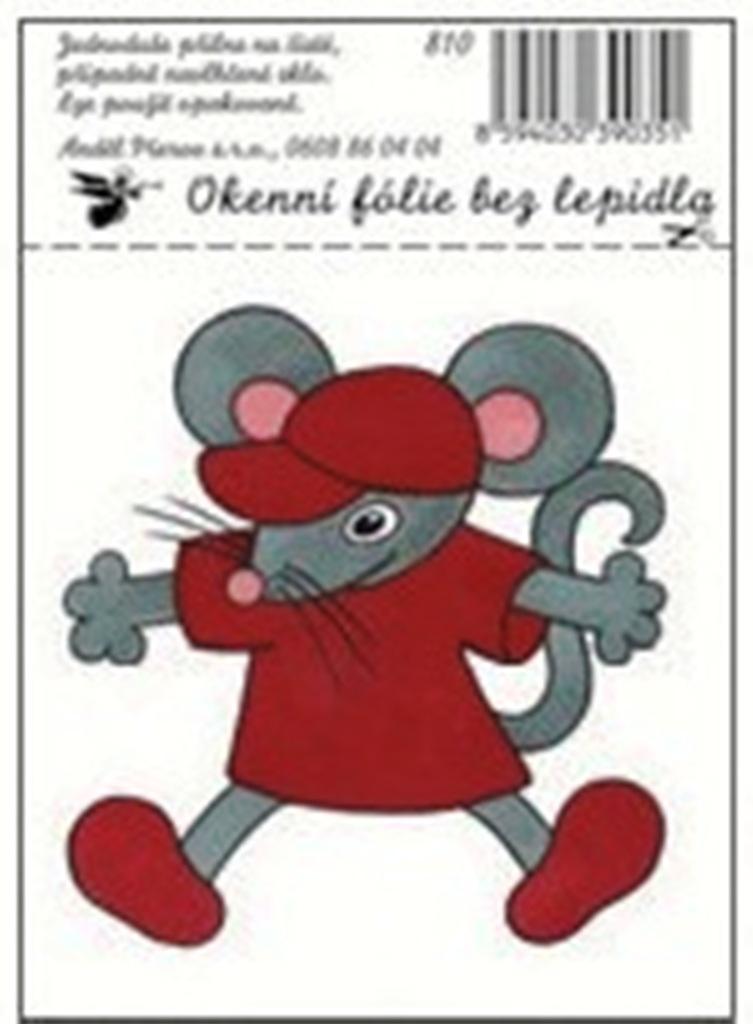 Room Decor Okenní fólie bez lepidla malé dětské obrázky myš 12,5 x 8,7 cm