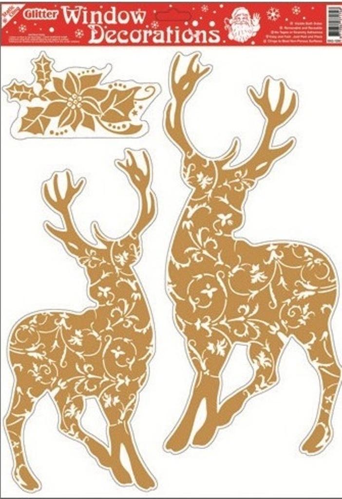 Okenní fólie bez lepidla se zlatými glitry 2 jeleni 42 x 30 cm