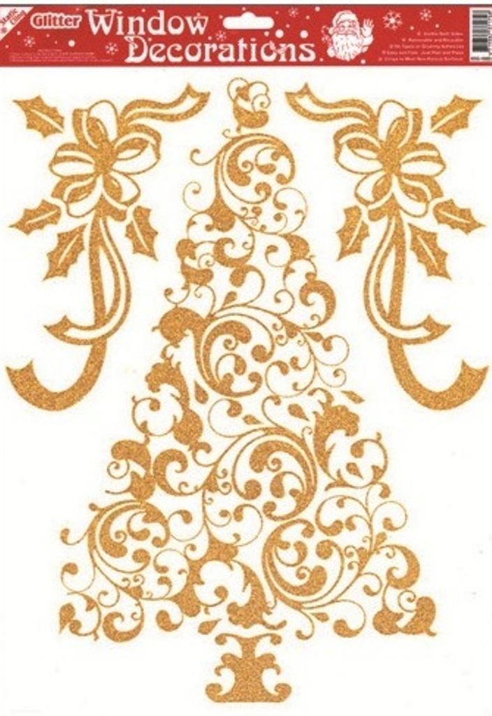 Okenní fólie bez lepidla se zlatými glitry stromek 42 x 30 cm