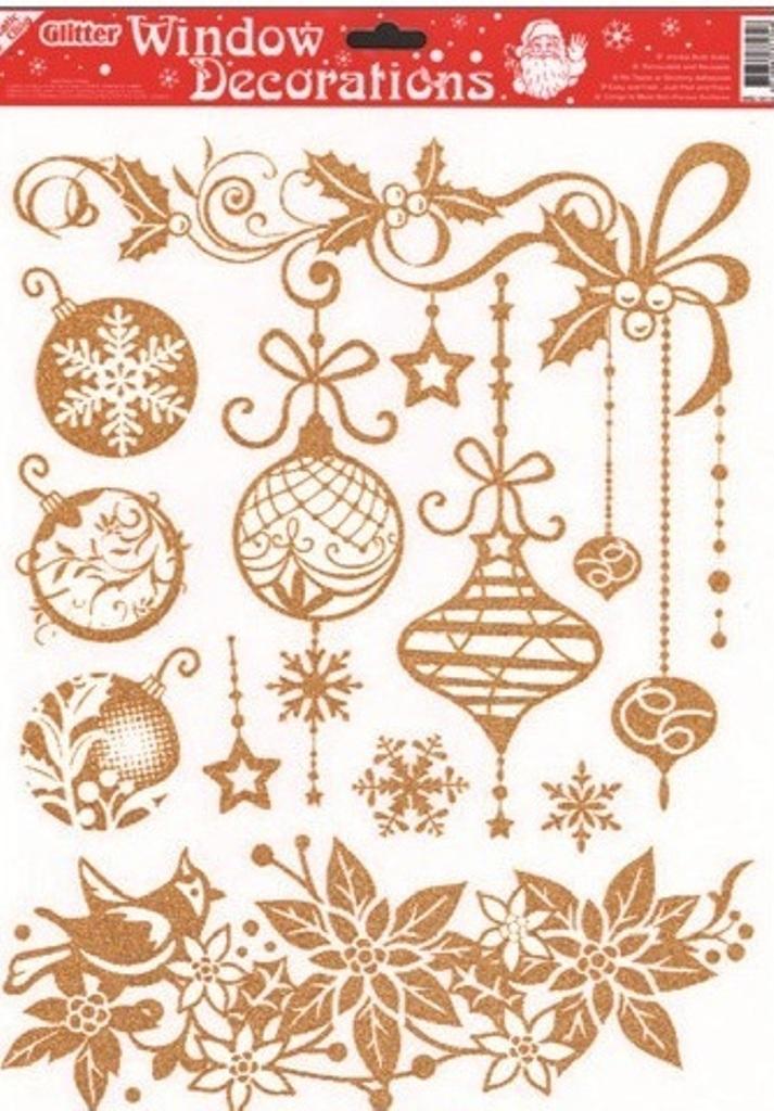 Room Decor Okenní fólie bez lepidla se zlatými glitry 1. Vánoční růže 42 x 30 cm