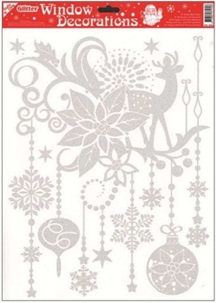 Room Decor Okenní fólie bez lepidla se stříbrnými glitry vánoční hvězda 42 x 30 cm