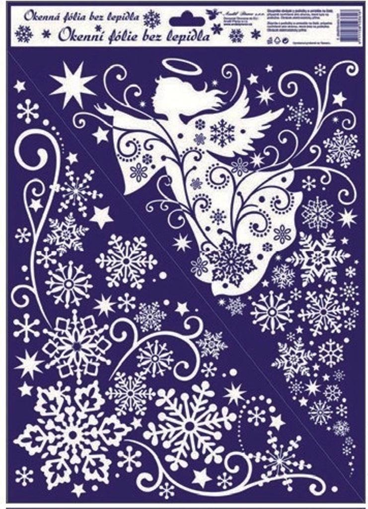 Room Decor Okenní fólie bez lepidla rohová bílá jemná s andělem 42 x 30 cm
