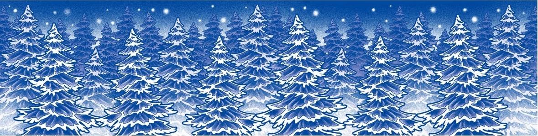 Room Decor Okenní fólie bez lepidla pruh zamrzlý s duhovými glitry stromky 64 x 15 cm