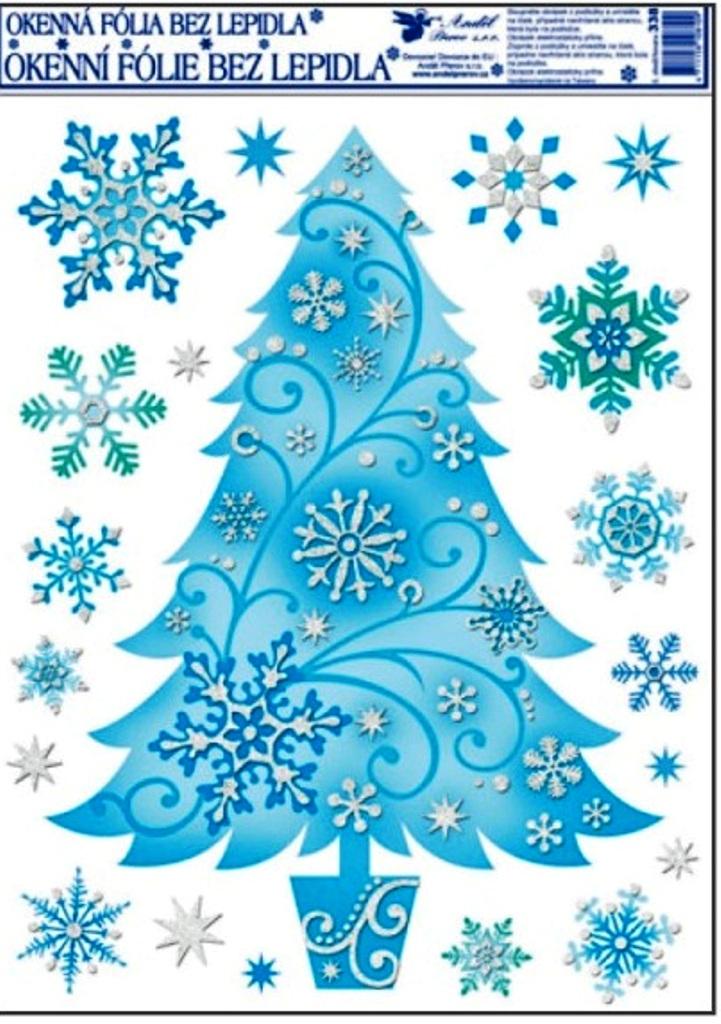 Okenní fólie bez lepidla jemná ledová strom 42 x 30 cm