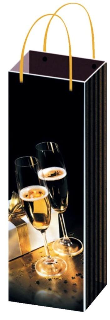 Anděl Taška vánoční dárková na lahev černá skleničky F 36 x 12 x 9 cm