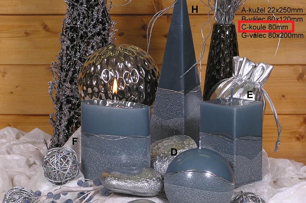 Lima Artic svíčka šedá koule 80 mm 1 kus