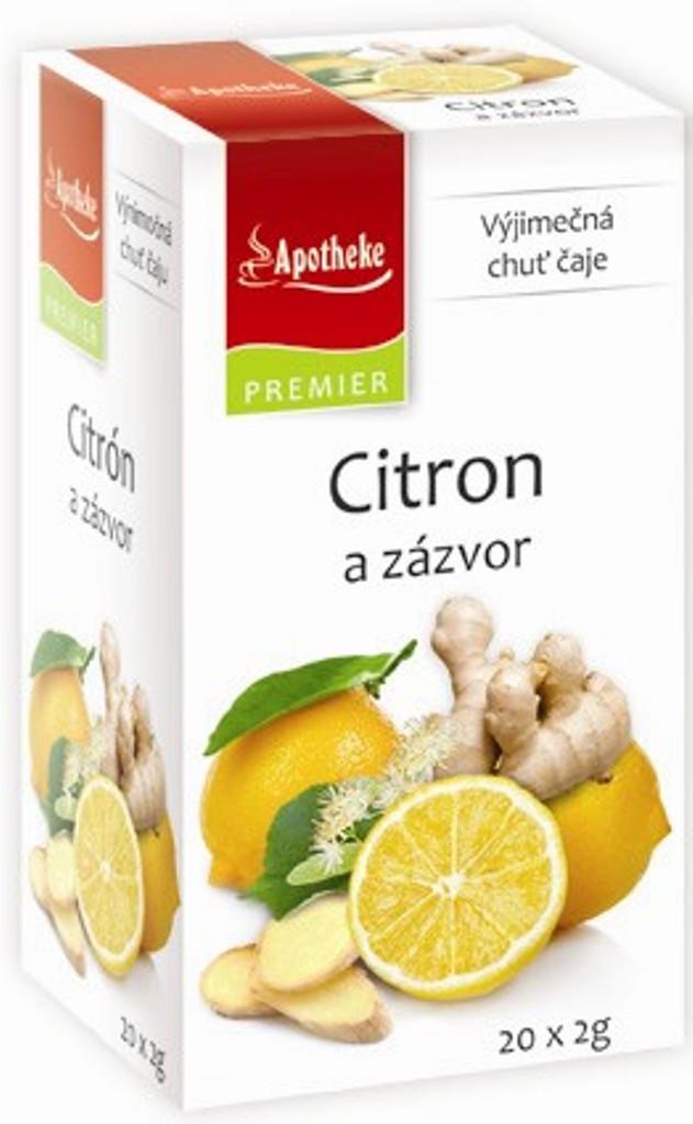 Fotografie Apotheke Citron a zázvor ovocný čaj 20 nálevových sáčků x 2 g