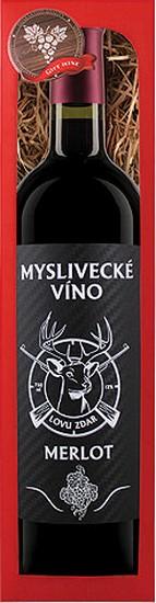Bohemia Gifts & Cosmetics Merlot Myslivecké víno Lovu zdar červené dárkové víno 750 ml