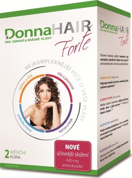 Fotografie DonnaHair Forte 2 měsíční kúra pro zdravé a krásné vlasy 60 tobolek