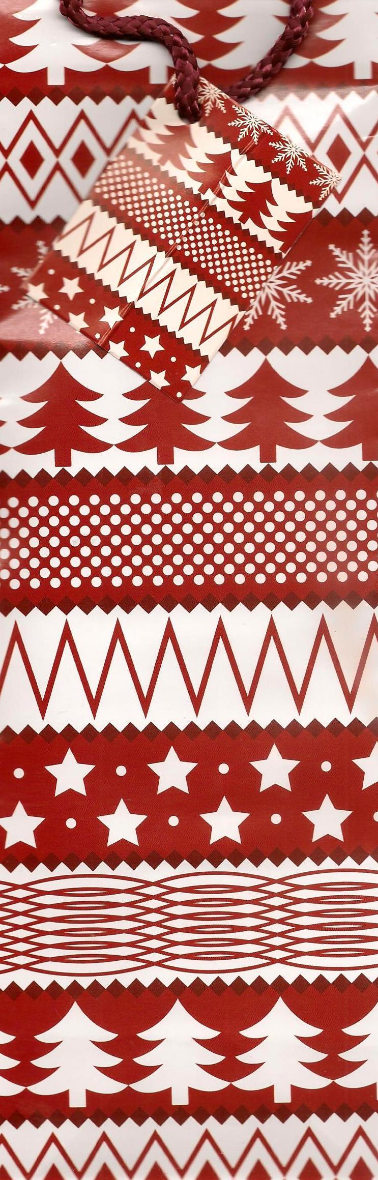 Nekupto Dárková papírová taška na láhev 33 x 10 x 9 cm červená, strom, vločka, hvězda 722 30 WLH