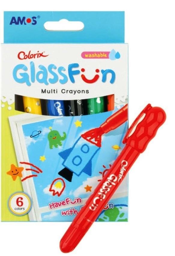 Amos Glass Fun smývatelné krajony k malování a psaní na sklo 6 barev