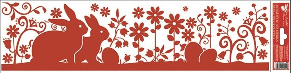 Room Decor Okenní fólie bez lepidla pruh velikonoční siluety červená 2 zajíčci 45 x 12 cm