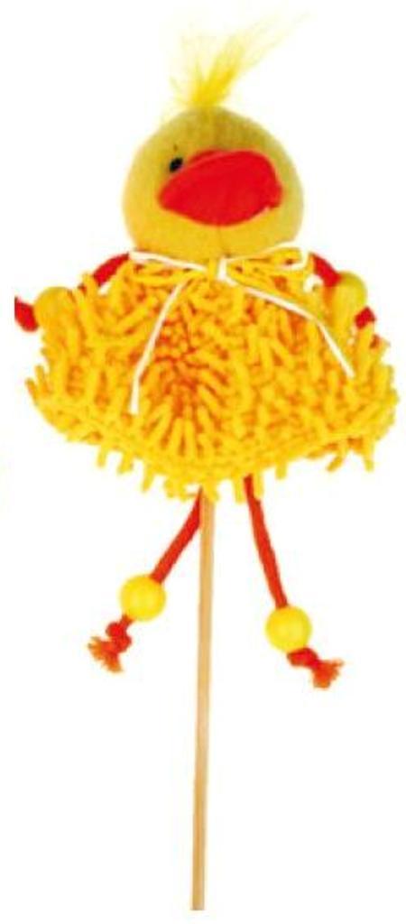 Zápich střapatý žlutý kačenka 12 cm + špejle