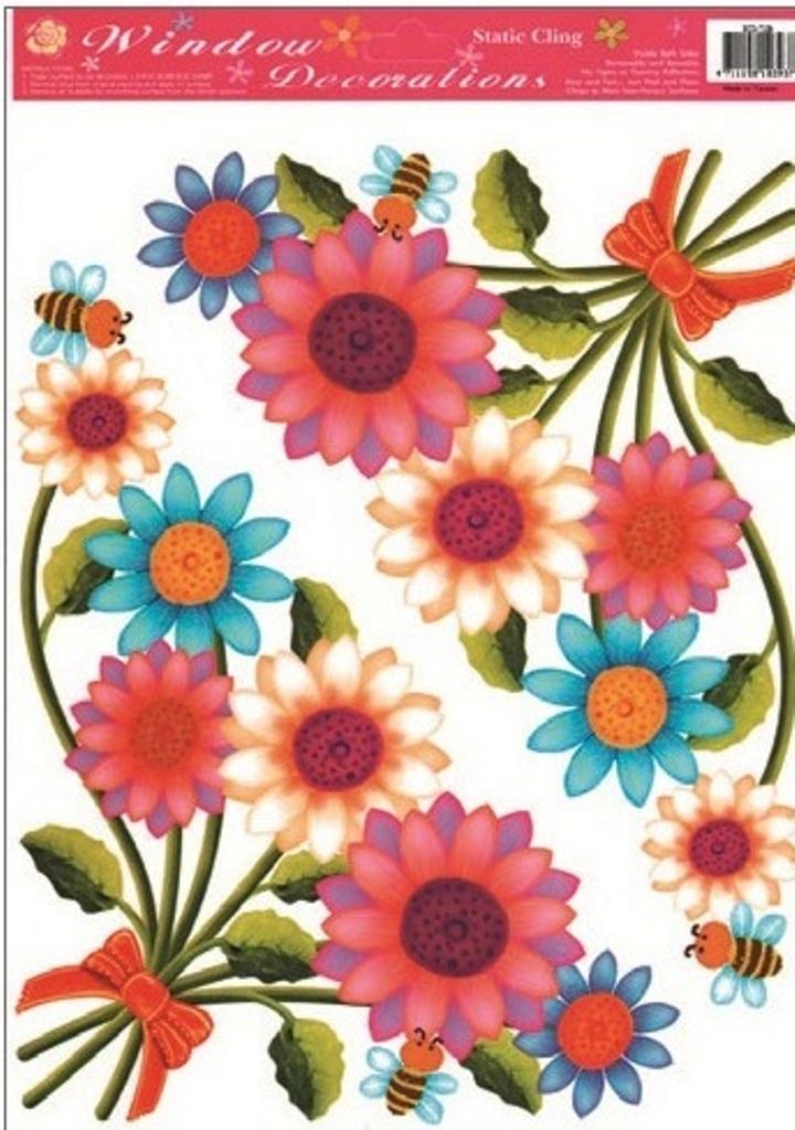 Room Decor Okenní fólie bez lepidla rohová květiny s včelkami 37 x 26 cm