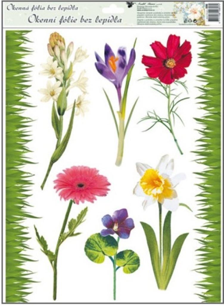 Room Decor Okenní fólie bez lepidla travička a květinky Typ 2 42 x 30 cm