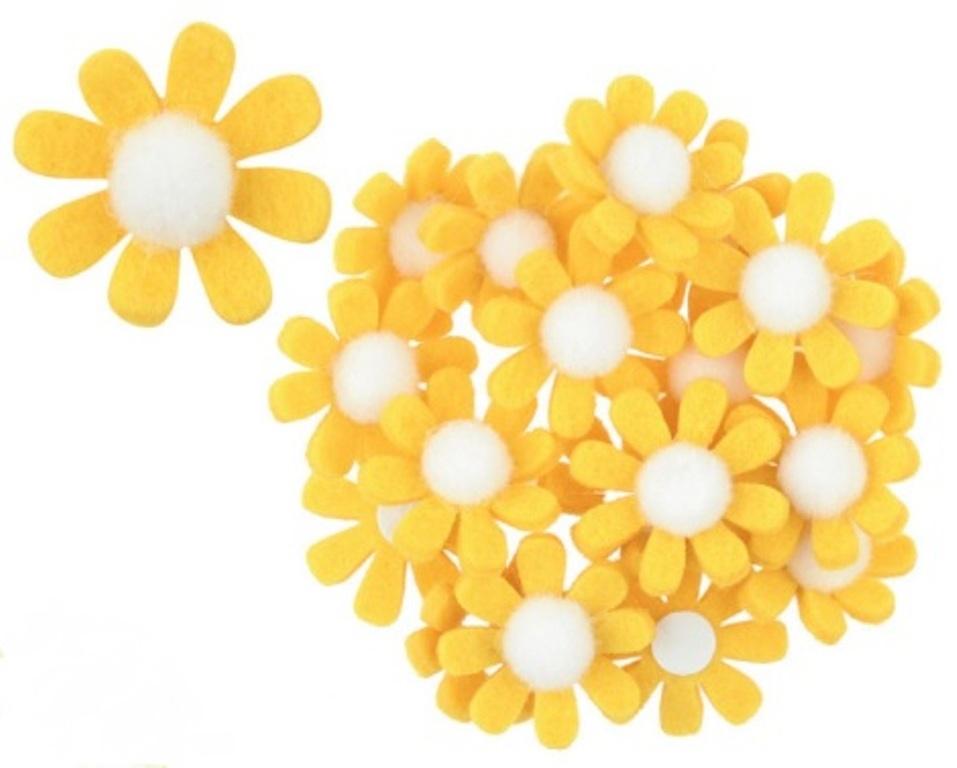 Dekorace květy z filcu s lepíkem žluté 3,5 cm v krabičce 18 kusů