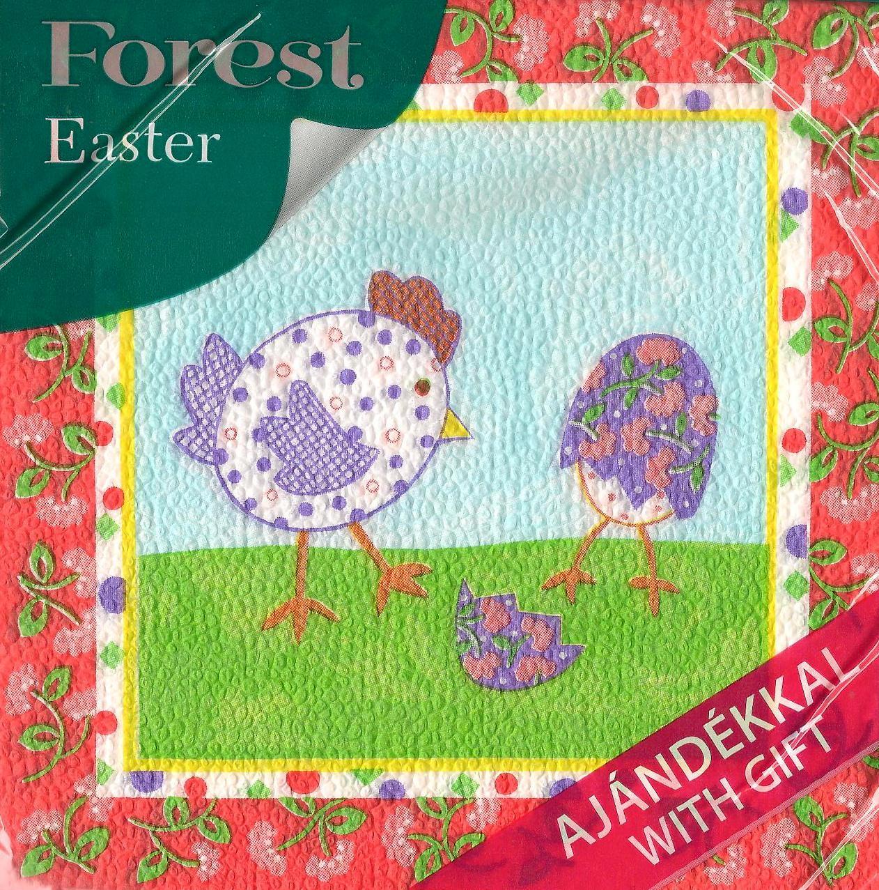 Forest velikonoční papírové ubrousky Slepička a vajíčko 1 vrstvé 33 x 33 cm 20 kusů