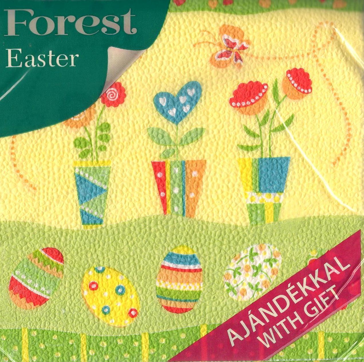 Forest velikonoční papírové ubrousky Květináče a vajíčka 1 vrstvé 33 x 33 cm 20 kusů