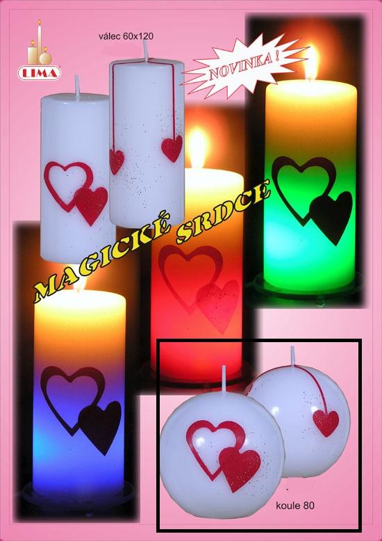 SVÍČKA Magická koule 80 Srdce 4183